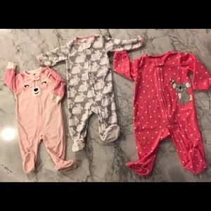 3 Pack Carter's Infant Girls fleece footed Pajamas